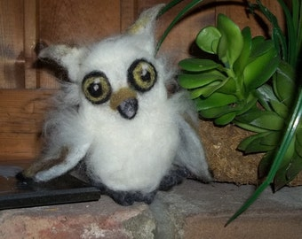 Baby Owl Needle Felted Tufted Cute Owl