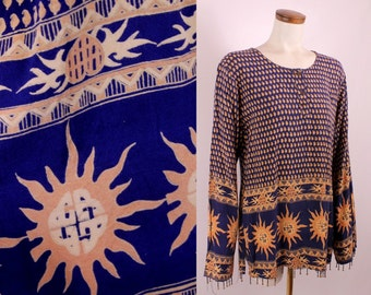 Vintage 90s - Blue Ethnic Paisley Sun & Hearts - Brass Bell Beaded Fringe - Long Sleeve Tunic Blouse Top Shirt - Hippie New Age Boho
