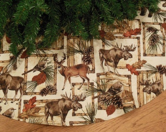 "Rustic Christmas Tree Skirt with Moose, Deer, Bears, Northwest Tree Skirt, Cabin Christmas, Lodge Decoration, 42 "" Xmas Tree Skirt"