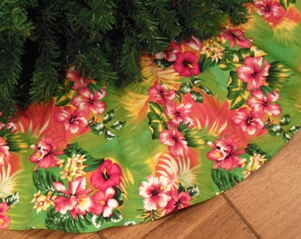 "Tropical Christmas Tree Skirt, Hawaiian Decoration, Tropical Decoration, Beach Christmas, Pink Hibiscus, 42"" Diameter Xmas Tree Skirt"