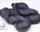 Hand Dyed Superwash Merino - Worsted weight yarn - Granite Grey