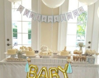 BABY Gold Mylar Balloons {Baby Shower, Gender Reveal decor} With custom Tassles, BABY