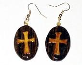 Zebrawood oval earrings with cross inlay