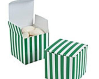 Green & White Striped Favor Boxes-12 ea.