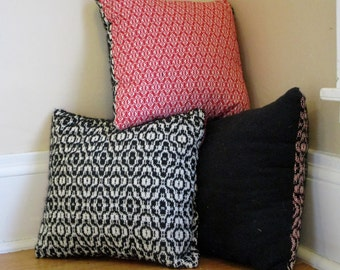 Black, White, Red All Over Pillows, set of 3