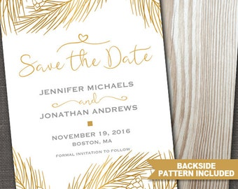 Gold Save the Date, Wedding Announcement, Save the Date Announcement, Save the Date Printable, Holiday Save the Date, ID: SD15801