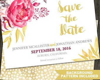 Gold Save the Date, Wedding Announcement, Save the Date Announcement, Save the Date Printable, Peony Wedding, ID: SD15802