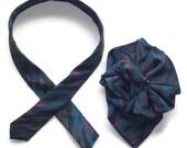 Ladies Silk Necktie Scarf, Silk Brooch, 2-pc. Pin & Tie in Ocean blue, green, Eco Fashion Accessory, necktie necklace, ladies silk collar