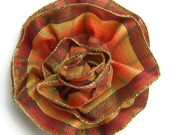 Large Plaid Ribbon Pin in tones of orange gold brown with gold edge is Handmade and versatile fashion accessory