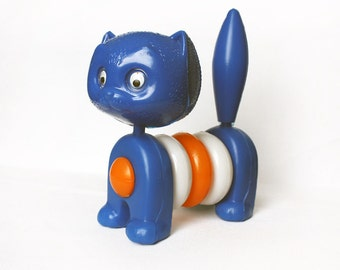 1970s Stacking Cat Toy for Toddlers. Blue White Orange. Early Development Toy/ Nursery Decor