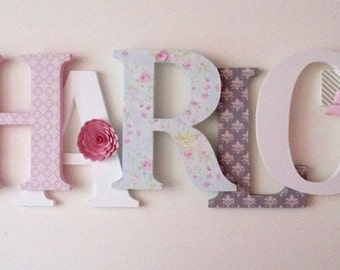 Wooden letters for nursery in pink, white, aqua  and khaki