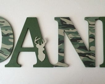 Wooden  letters for nursery in  camo and deerhead