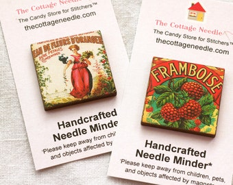 Pick One Hotel Parfumerie Wine Vintage Labels Needle Minder magnet cross stitch embroidery tool Paris French France