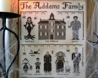 Addams Family : The Little Stitcher Laura Rimola counted cross stitch patterns Gomez Morticia Wednesday Lurch Uncle Fester Pugsley