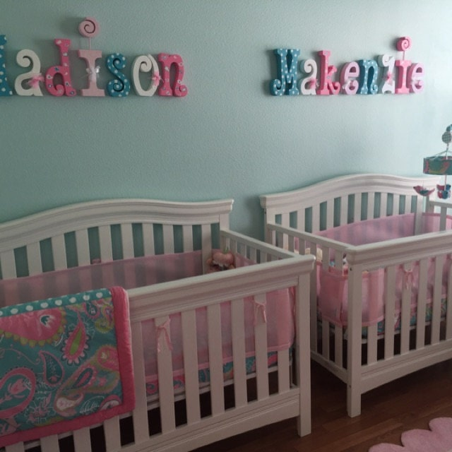 Nursery wall decor wood letters 6 letter set kids room for Baby name nursery decoration