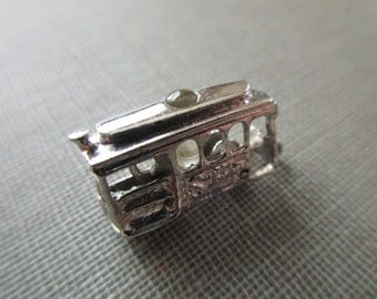 sterling San Francisco cable car charm with Stanhope viewer of the Golden Gate bridge