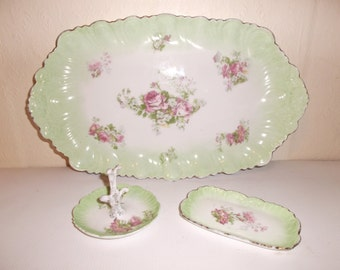 Vintage Limoges French Boudoir Vanity Dressing Table Set Tray, Ring Holder and Dish