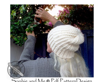 Bulky Garter Hat with Ribbing- Crochet Pattern - Instant Download