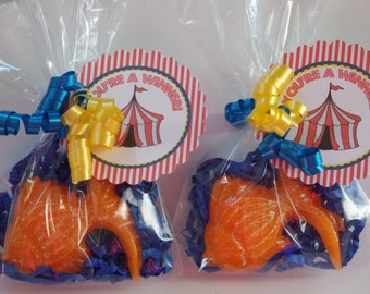 10 CARNIVAL GOLDFISH Soap Favors {With Tags & Curly Ribbons} - Kids Birthday Party, Baby Shower, Wedding / Bridal Shower