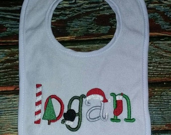 Personalized Christmas Baby Bib, Christmas bib, personalized bib, holiday bib