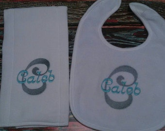 Personalized Burp Cloth and Bib set, personalized baby set, personalized baby item, baby boy gift