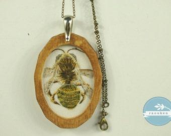 Handembroidered Needlepainted Bee Necklace Pendant