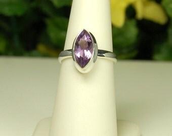 Amethyst Ring, Size 6.5, Marquise Amethyst, Clear Purple Sparkle, February Birthstone, Purple Amethyst, Natural Amethyst, Purple Marquise