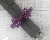 Boy Suspender Bow Tie Set - Eggplant Purple & White Polka Dot Bow Tie - Gray Suspenders - Wedding Accessory