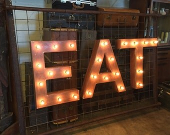 1940s Vintage Up-Cycled Ambient 'EAT' Sign