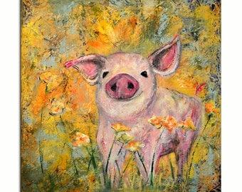 Pig Painting, Pig in Flowers Original Painting