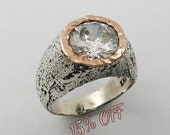 Sterling silver gold ring. Silver rose gold ring. Round cz ring. Silver statment ring. (gsr-7131). gift for her, unique ring