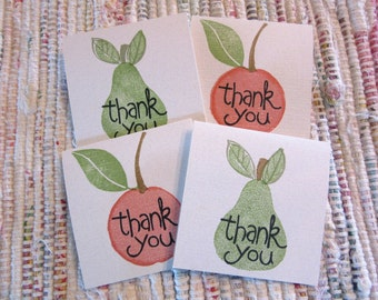 Peaches and Pears Mini Thank You Cards  Set of 4
