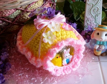 "Ready to ship - Crochet Sugar Easter Eggs Diarama Panoramic Egg Large 5"" X 4"" X 3"" Hand Crocheted"