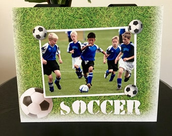 "Soccer Field Sports team Player Coach mom dad gift custom handmade magnetic picture frame holds 5"" x 7"" photo 9"" x 11"" size"