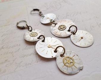 Steampunk Victorian Triple Antique Watch Face Earrings in Cream No 3