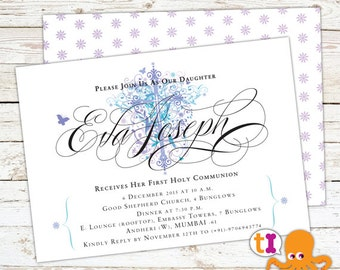 Baby Dedication, Baptism or First Communion Invitation with CROSS