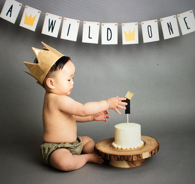 First Birthday Boy Boy Birthday Crown Boy Birthday: Where The Wild Things Are First Birthday Banner Sign 1st
