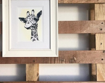 Giraffe Print Hand Drawn Original Art
