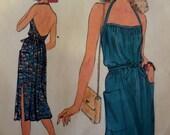 "1970's Side Hem Slit A-Line Back Wrap Dress Pattern Vogue 7356 Miss 12 Bust 34"". 70's SEXY WRAP DRESS Pattern and More at WhiletheCatNaps"
