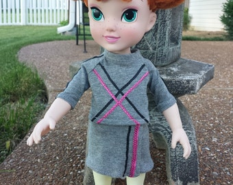 """16"""" Doll Clothes, Handmade to Fit Dolls Such as 16"""" Animator, Doll Top, Doll Skirt, Wrap Skirt, Grey with Hot Pink and Black Ribbons"""