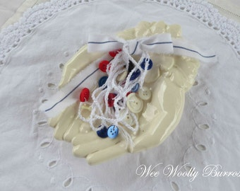 Red White Blue, Nautical Decoration, Crochet Button Garland by WeeWoollyBurros