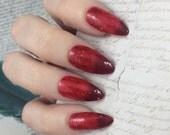 Burn nail polish Hamilton Musical Red thermal glitter fire