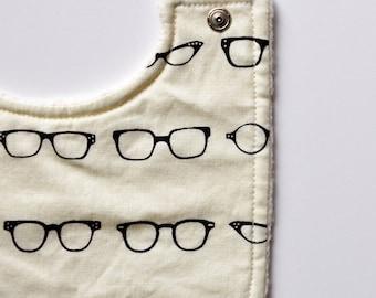 baby bib, geeky glasses and organic cotton sherpa