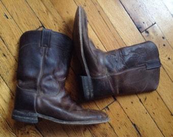 Vintage Justin leather roper boots USA 8