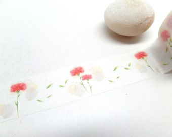 Carnation Washi Tape - Flower Washi Tape - Mothers Day Gift Wrap 20mm x 10m