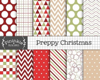 50% OFF SALE Christmas Digital Paper Pack, Red and Green Digital Scrapbook Paper, Preppy Digital Paper, Digital Download, Commercial Use, Ca