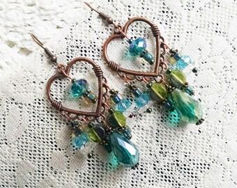 Bohemian chandelier earrings, Copper heart green teal chandelier earrings