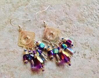 Purple chandelier earrings, Silver purple teardrop chandelier earrings