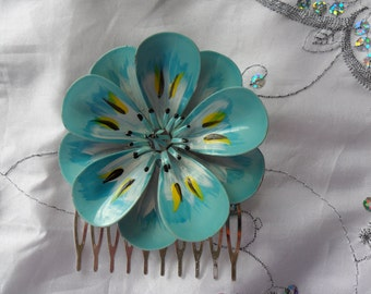 Authentic Vintage Beautiful Blue Green Enamel Flower Silver Hair Comb Large Stunning
