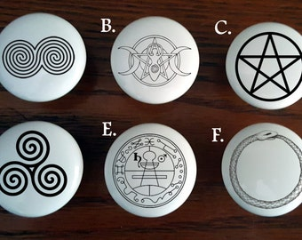 Beautiful and Magical Wiccan Inspired / Knobs / Kitchen Cabinet knobs / Protection designs / Custom Altar Knobs /  Wiccan Dresser Knobs